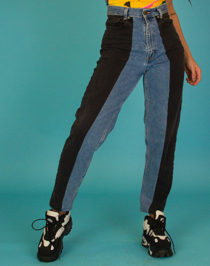 BLACK & BLUE SPLIT JEANS