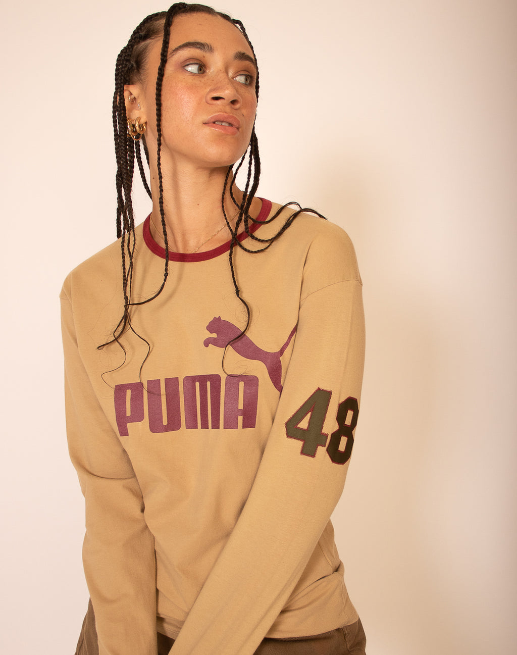 PUMA LONG SLEEVE SAND T-SHIRT