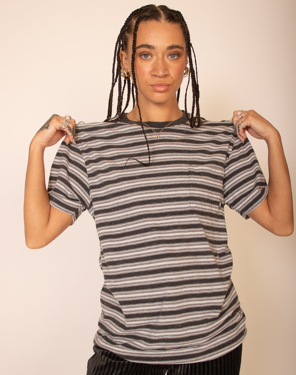 VANS GREY STRIPED T-SHIRT