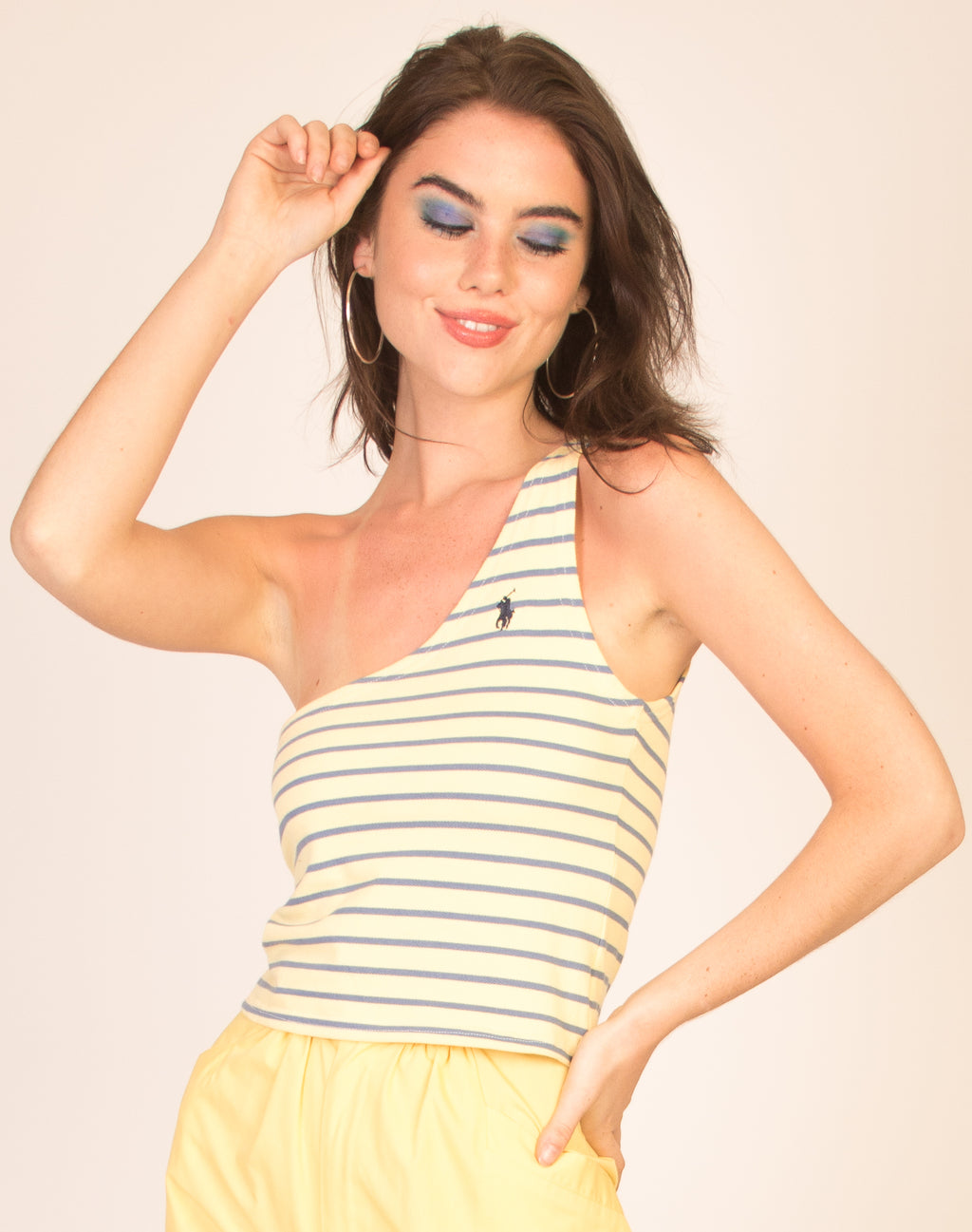 RALPH LAUREN YELLOW STRIPED AVA TOP