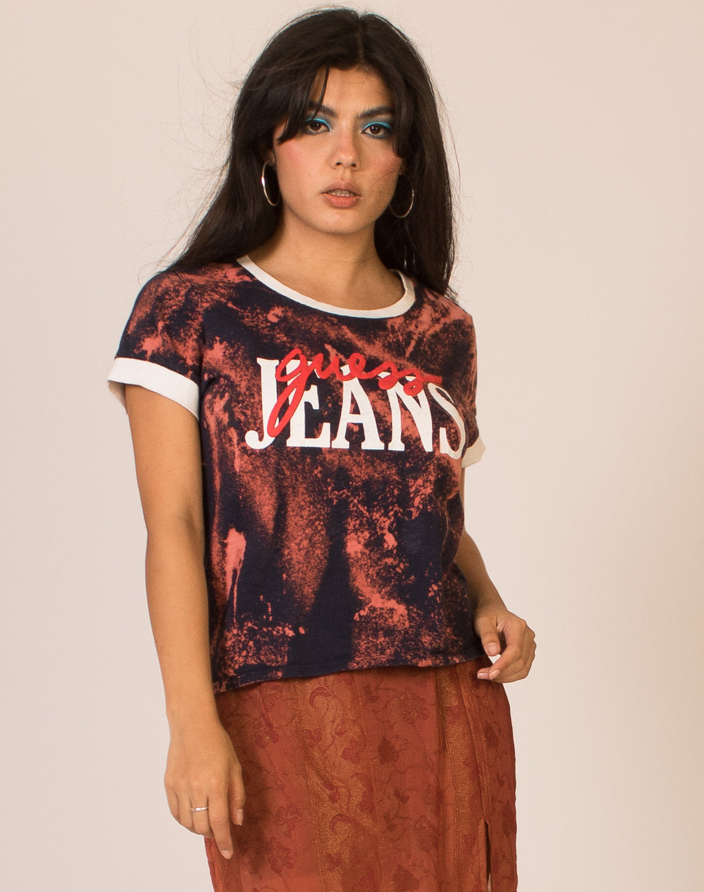 GUESS JEANS BLEACHED RINGER T-SHIRT