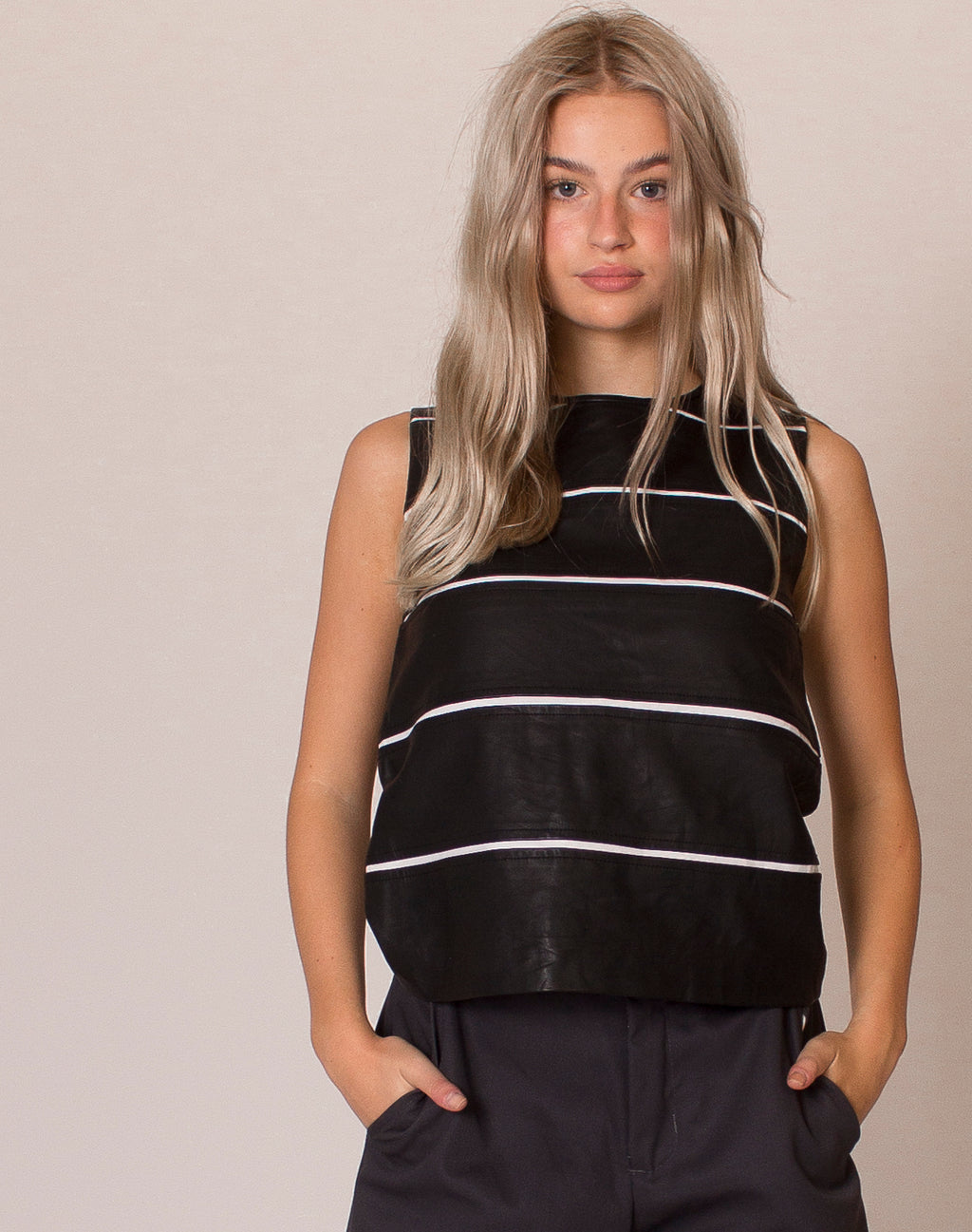 THEORY STRIPE LEATHER VEST