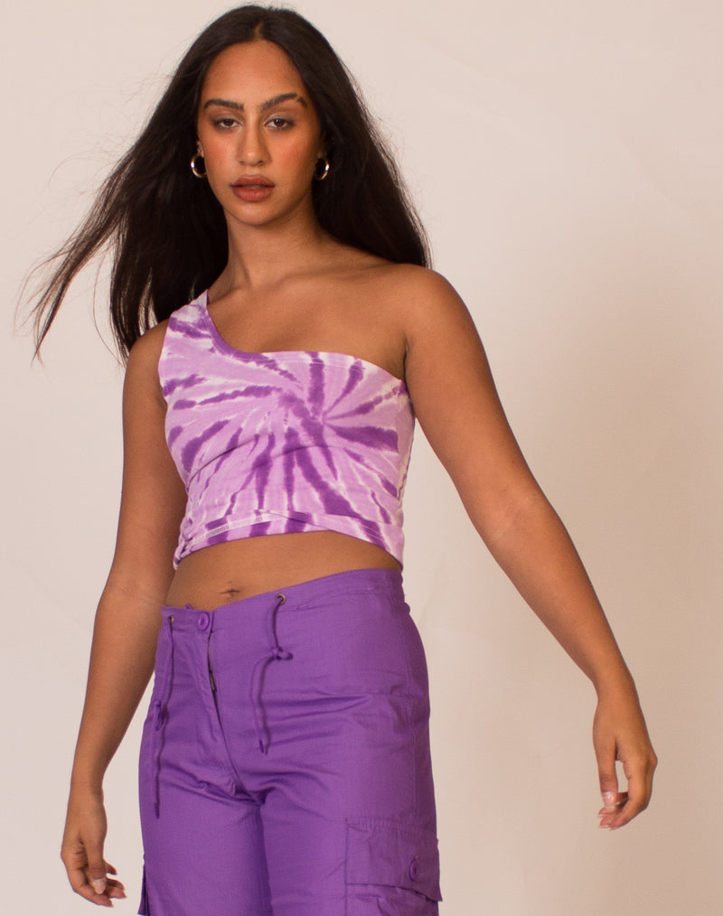 PURPLE TIE DYE AVA TOP