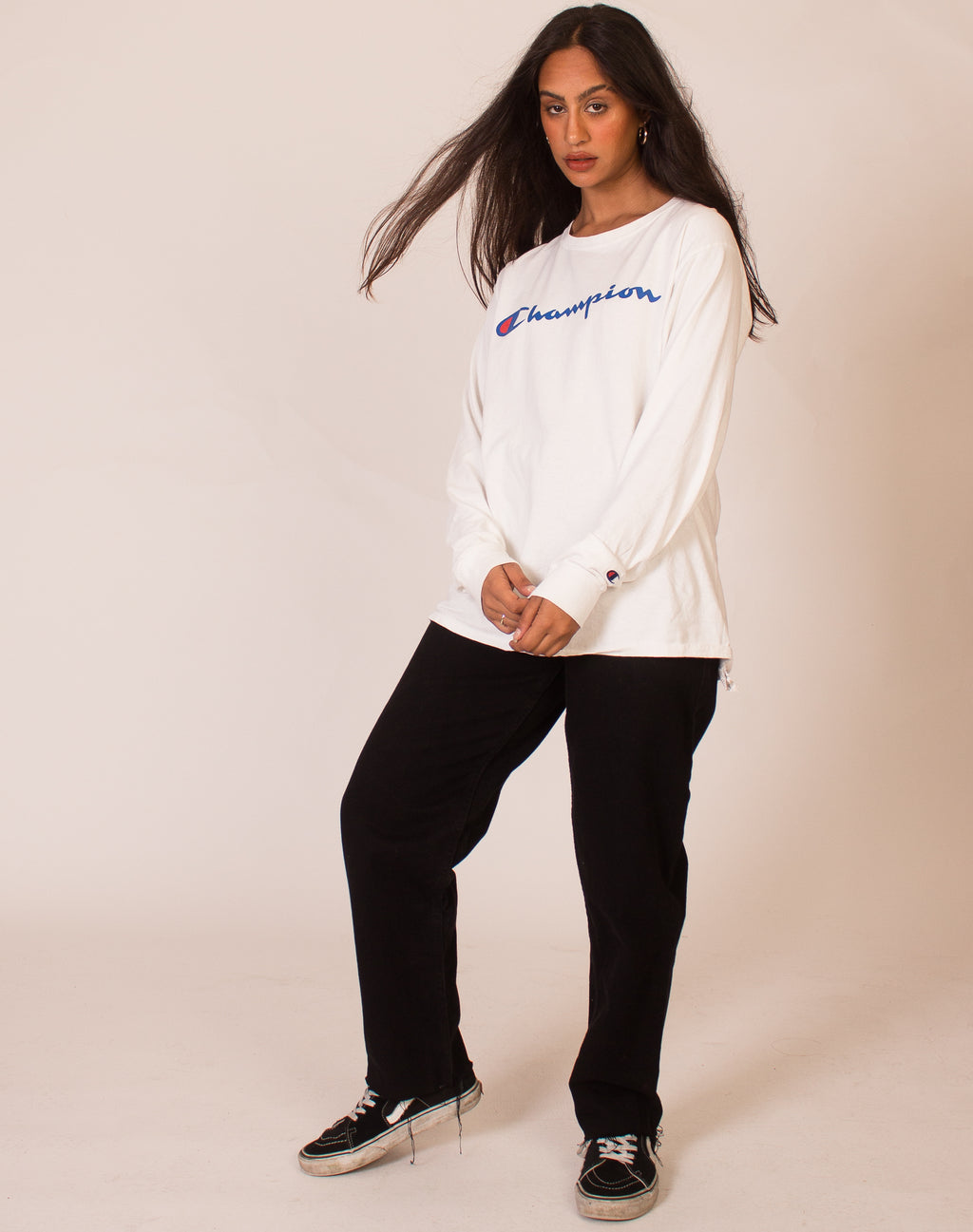 CHAMPION WHITE LONG SLEEVE TEE