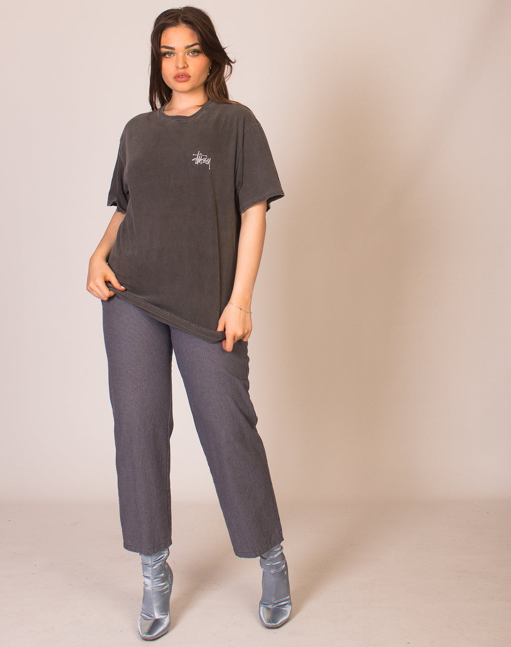 STUSSY WASHED GREY TEE