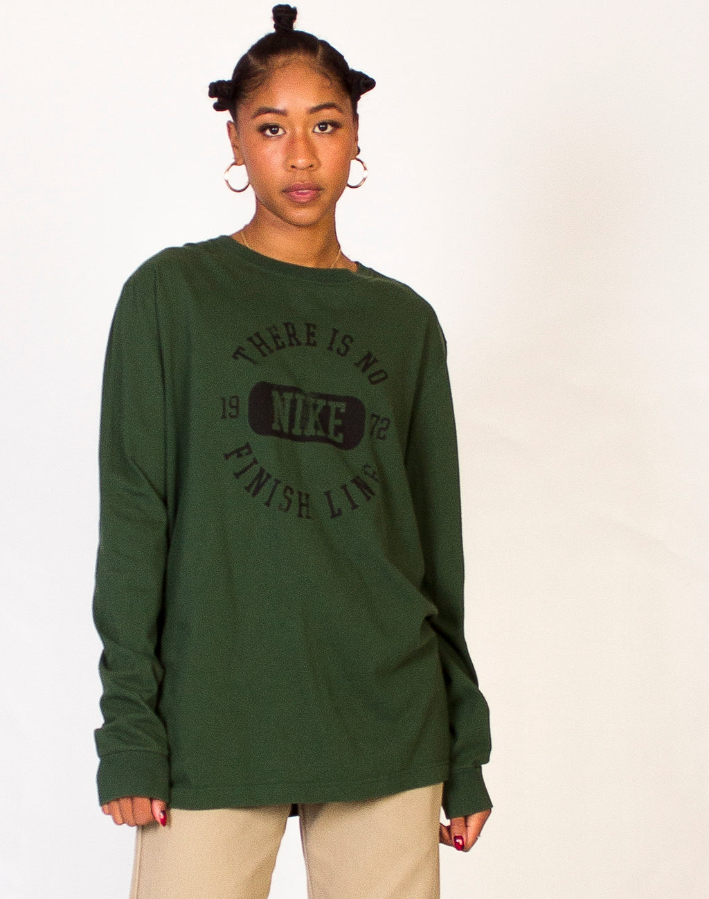 NIKE GREEN LONG SLEEVE TEE