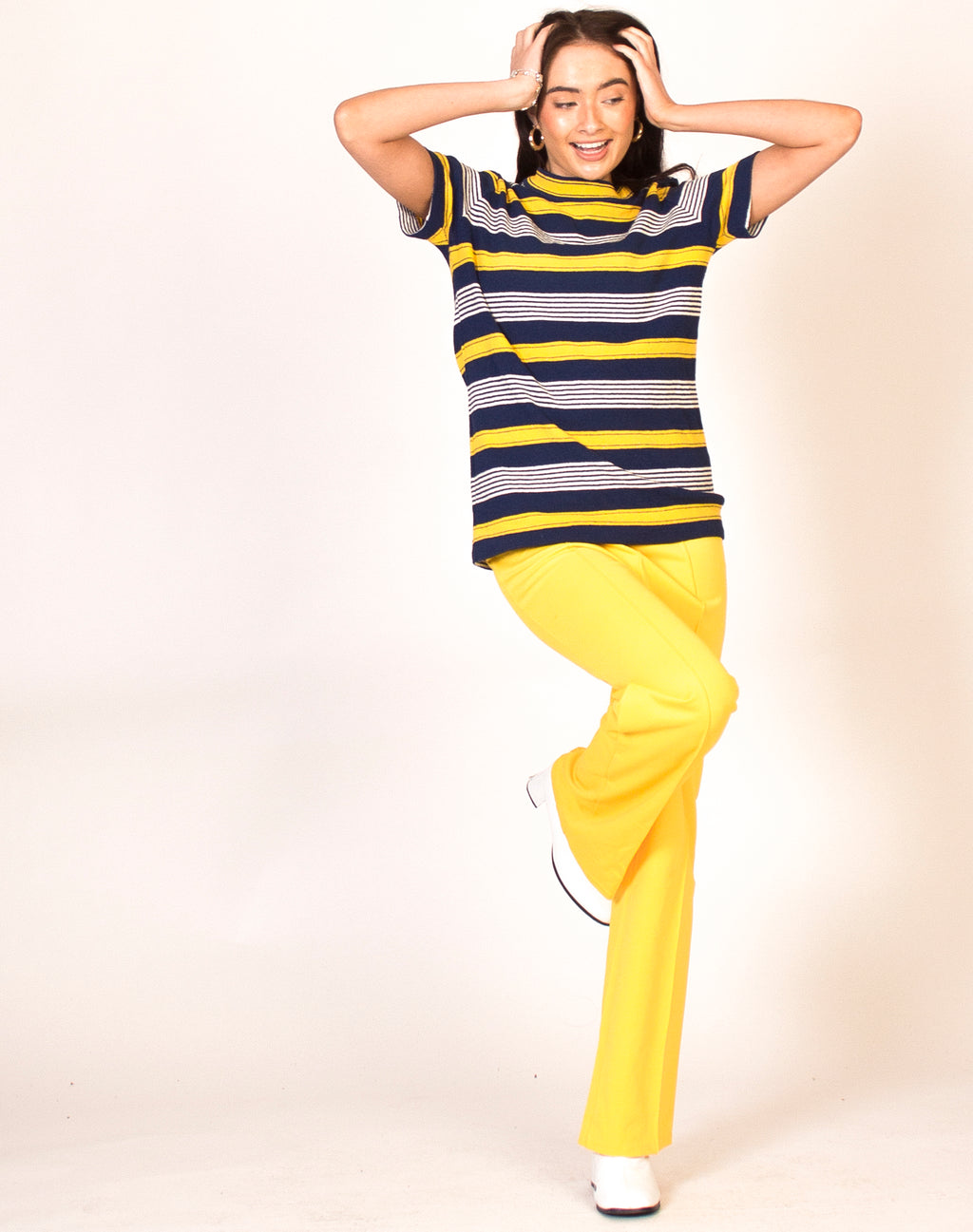 BLUE AND YELLOW STRIPE HIGH NECK TOP
