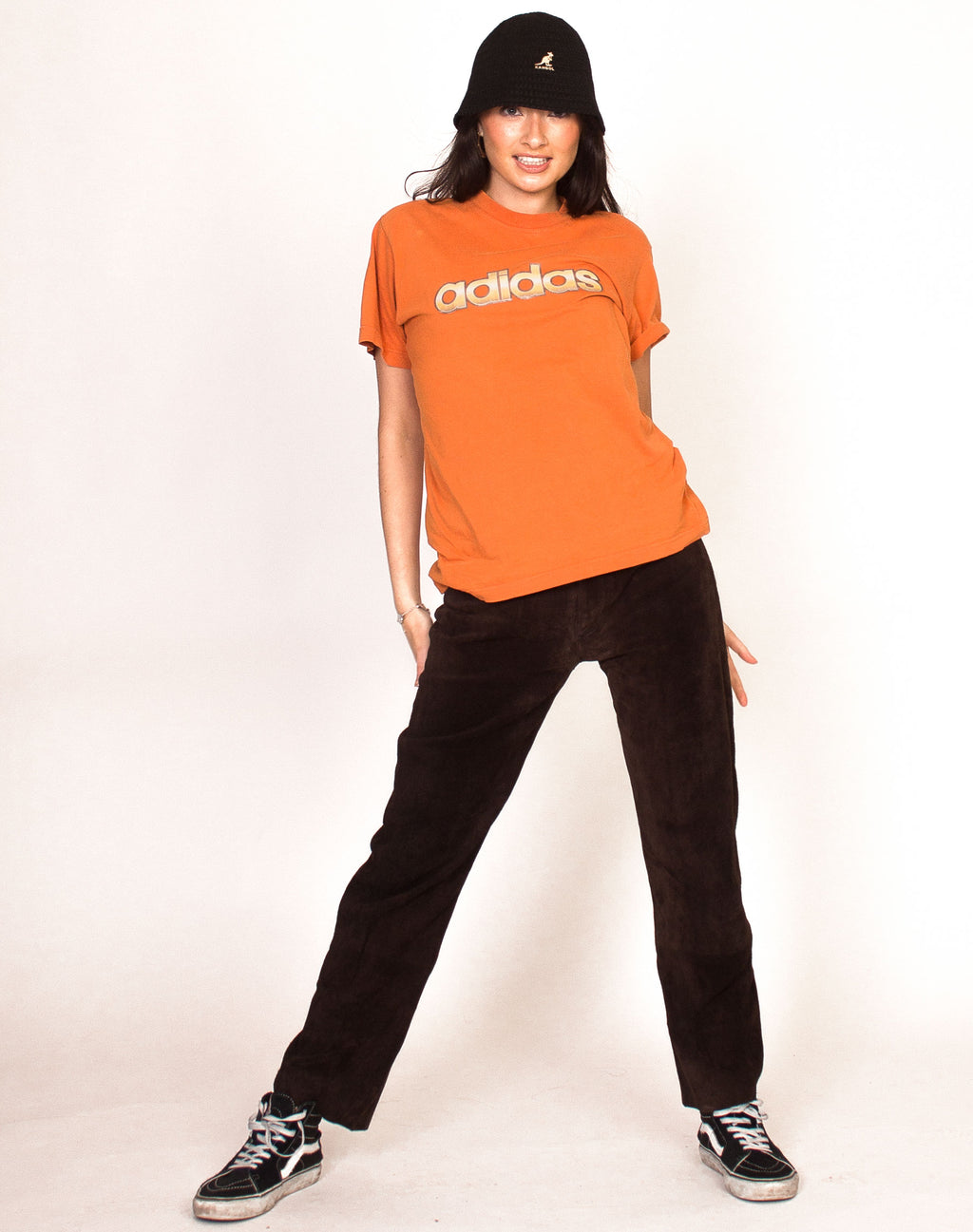 ADIDAS ORANGE SLOGAN T-SHIRT