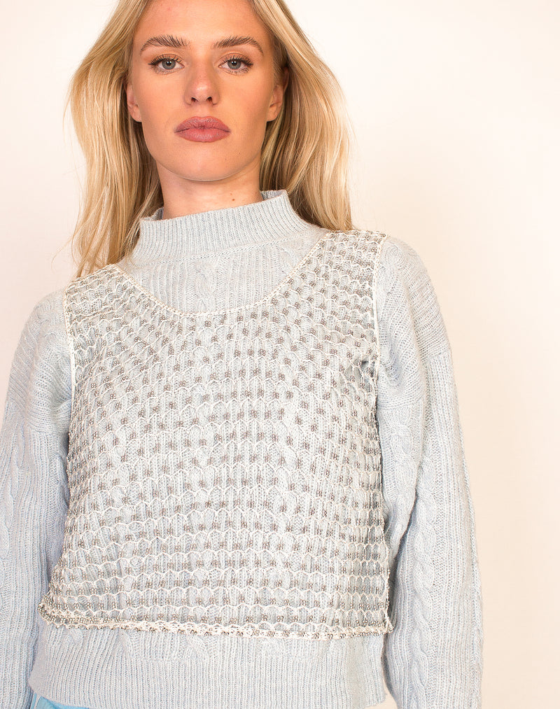 CREAM AND SILVER CHAINMAIL TOP