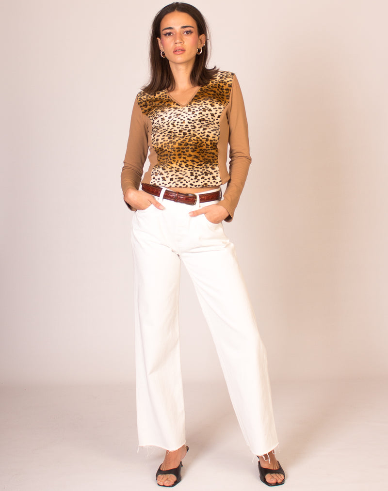 CHEETAH PANEL V NECK TOP