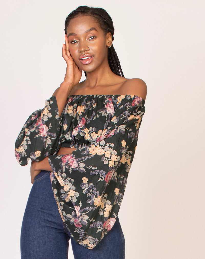 GREEN FLORAL OFF THE SHOULDER TOP