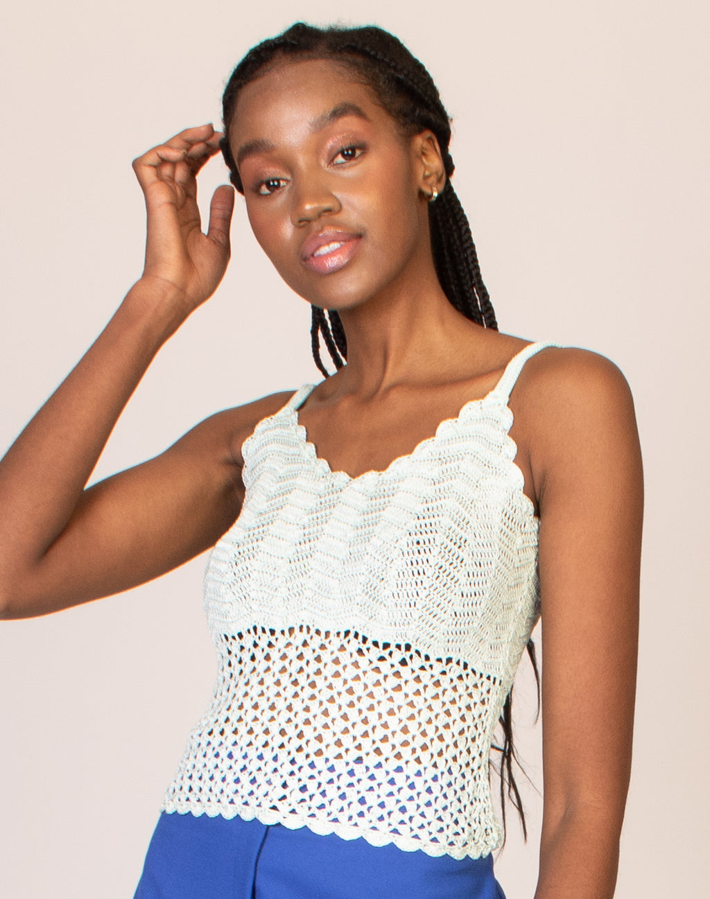 AQUA STRAPPY CROCHET TOP