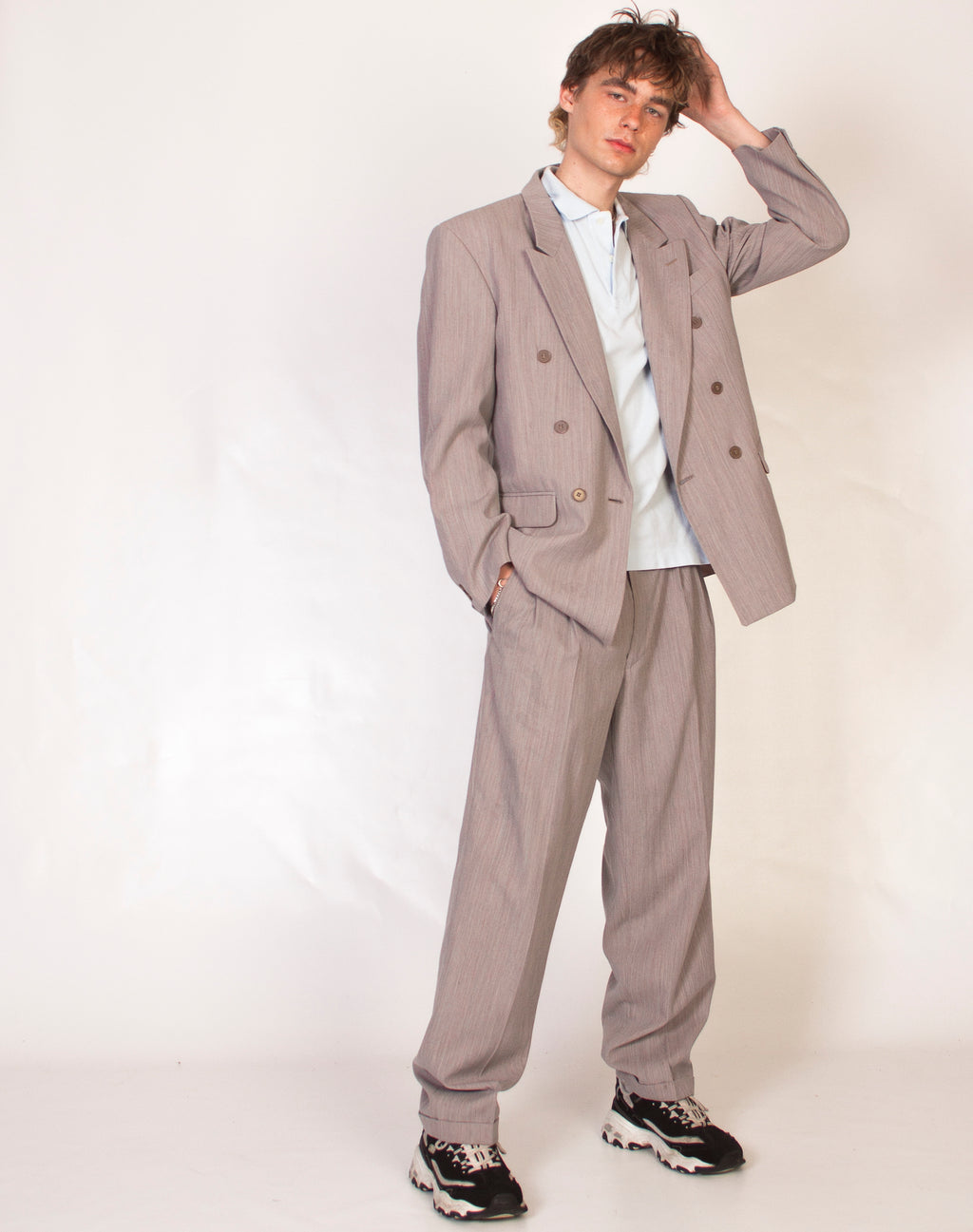 GREY RELAXED BRUSHED SUIT