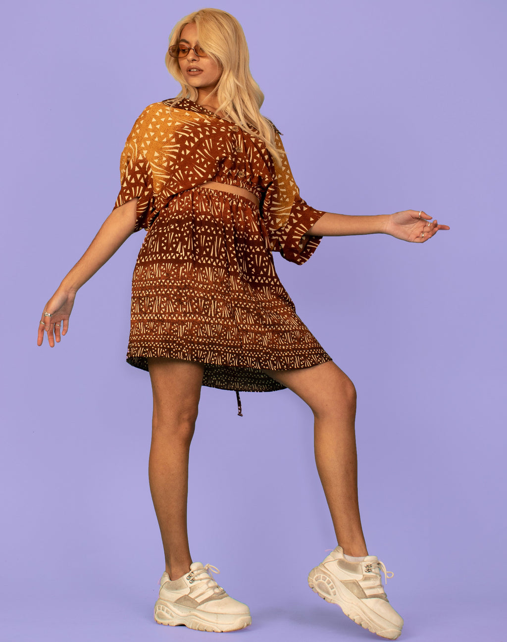BROWN TRIANGLE PRINT OVERSIZED CO-ORD