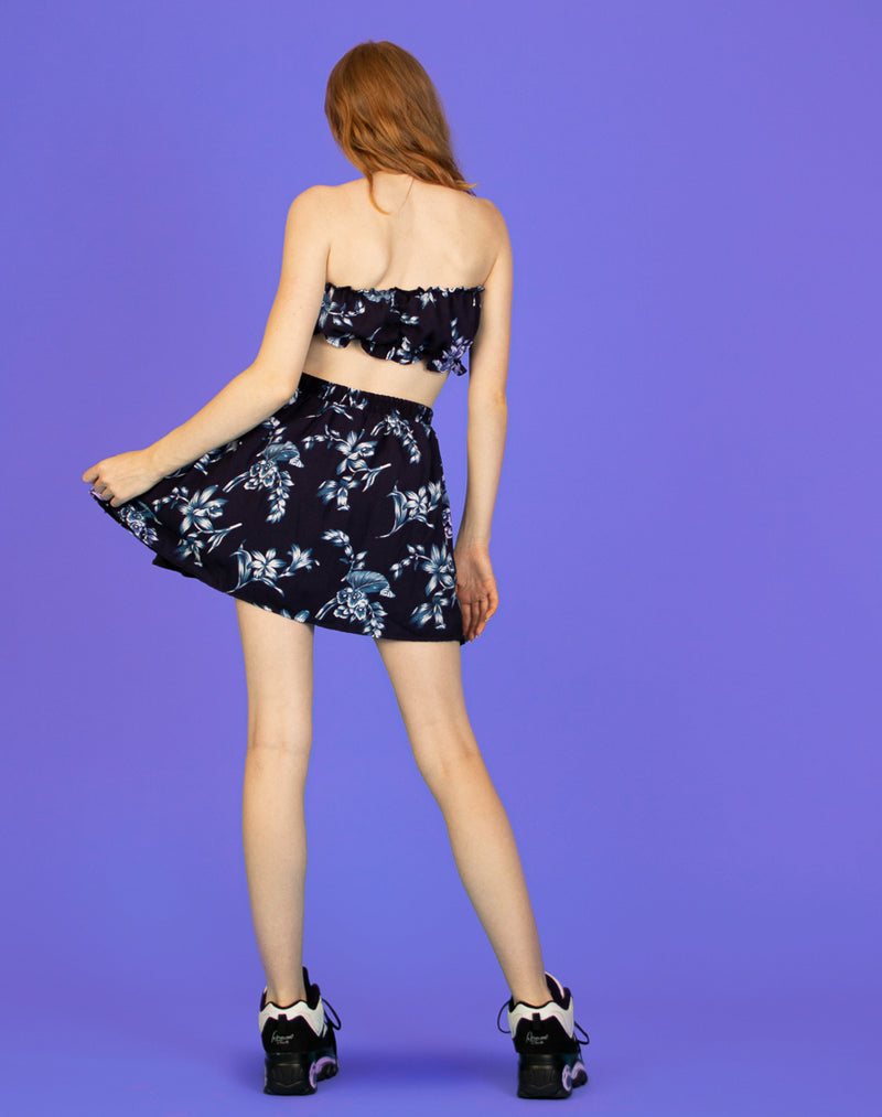 NAVY FLORAL FRILL BANDEAU CO-ORD