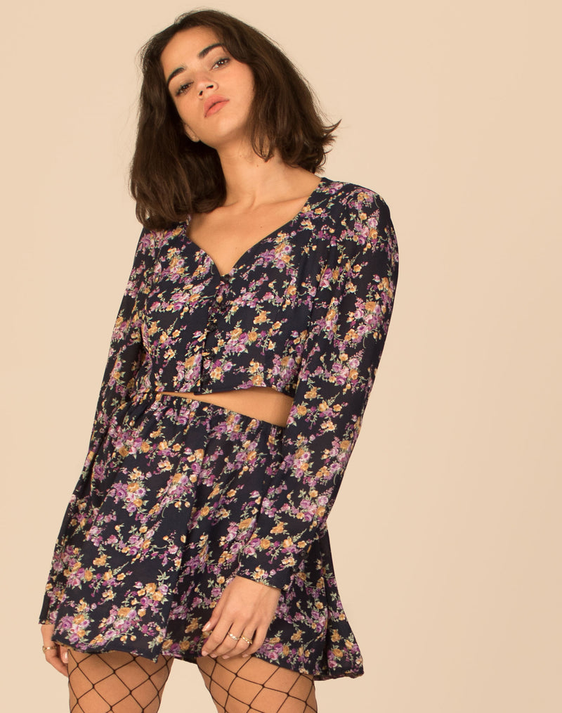 PURPLE FLORAL CO-ORD