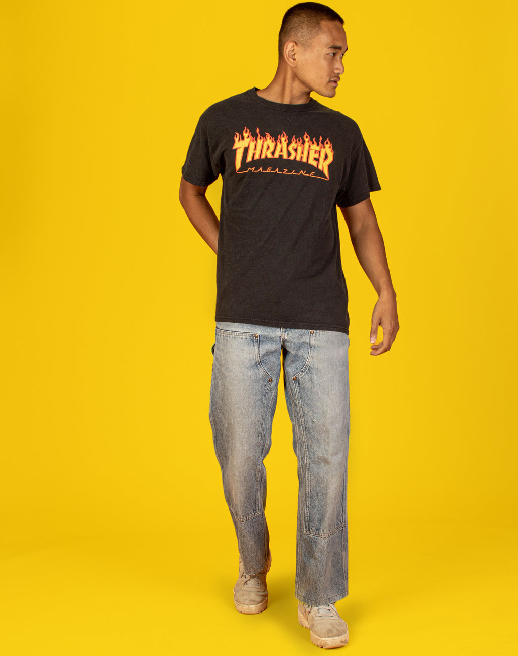 THRASHER BLACK FLAME TEE