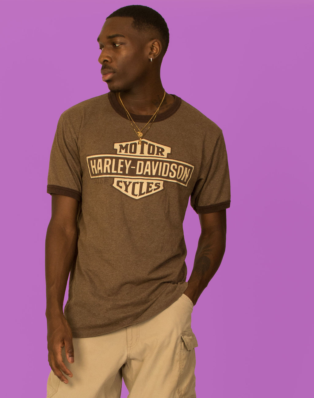 HARLEY DAVIDSON BROWN T-SHIRT