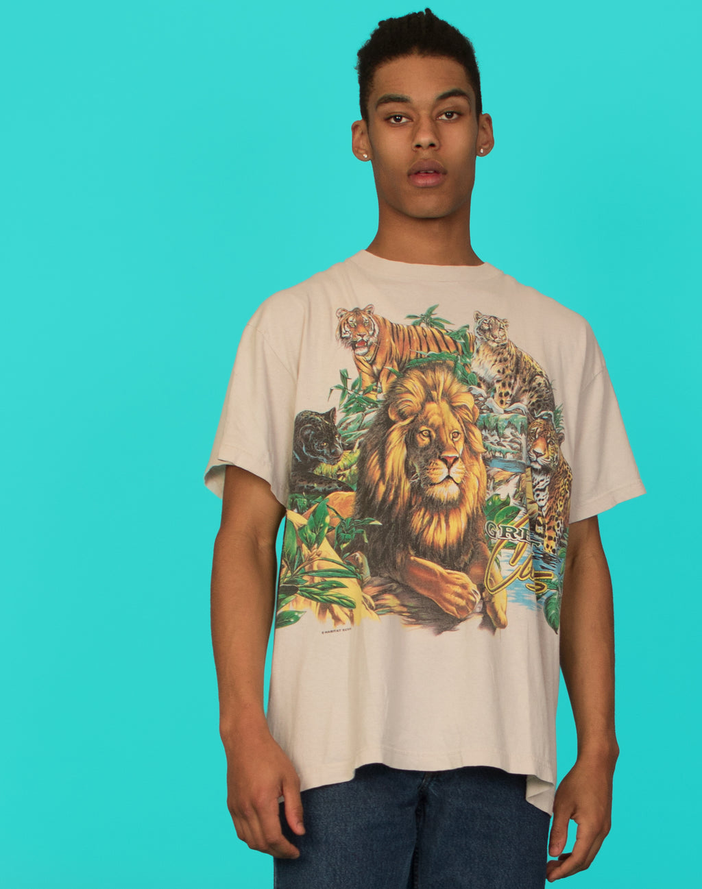 JUNGLE PRINT WHITE TEE