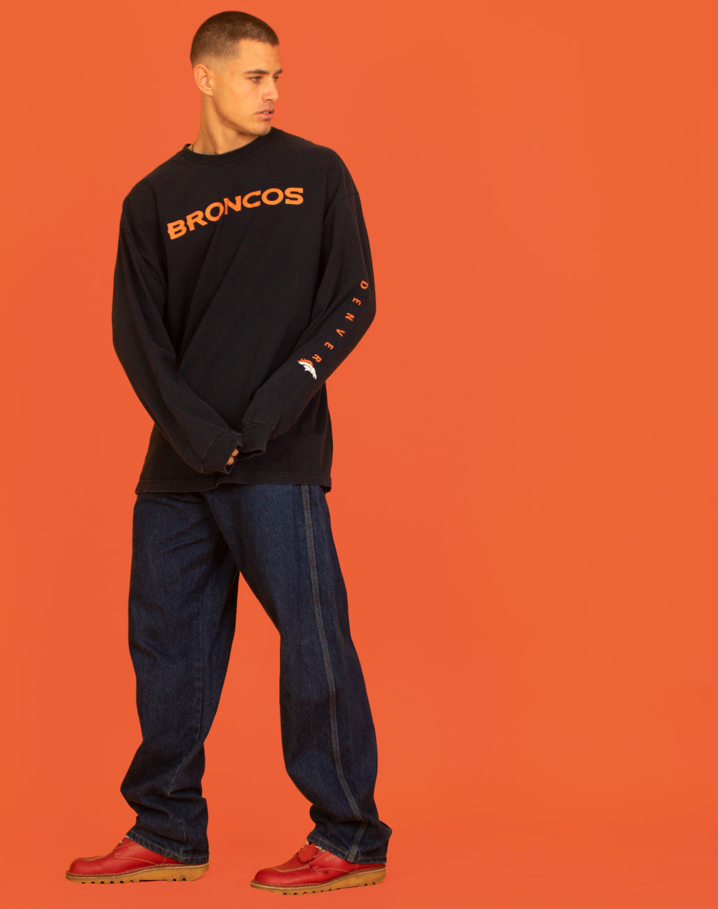 NFL BRONCOS LONG SLEEVE NAVY TEE