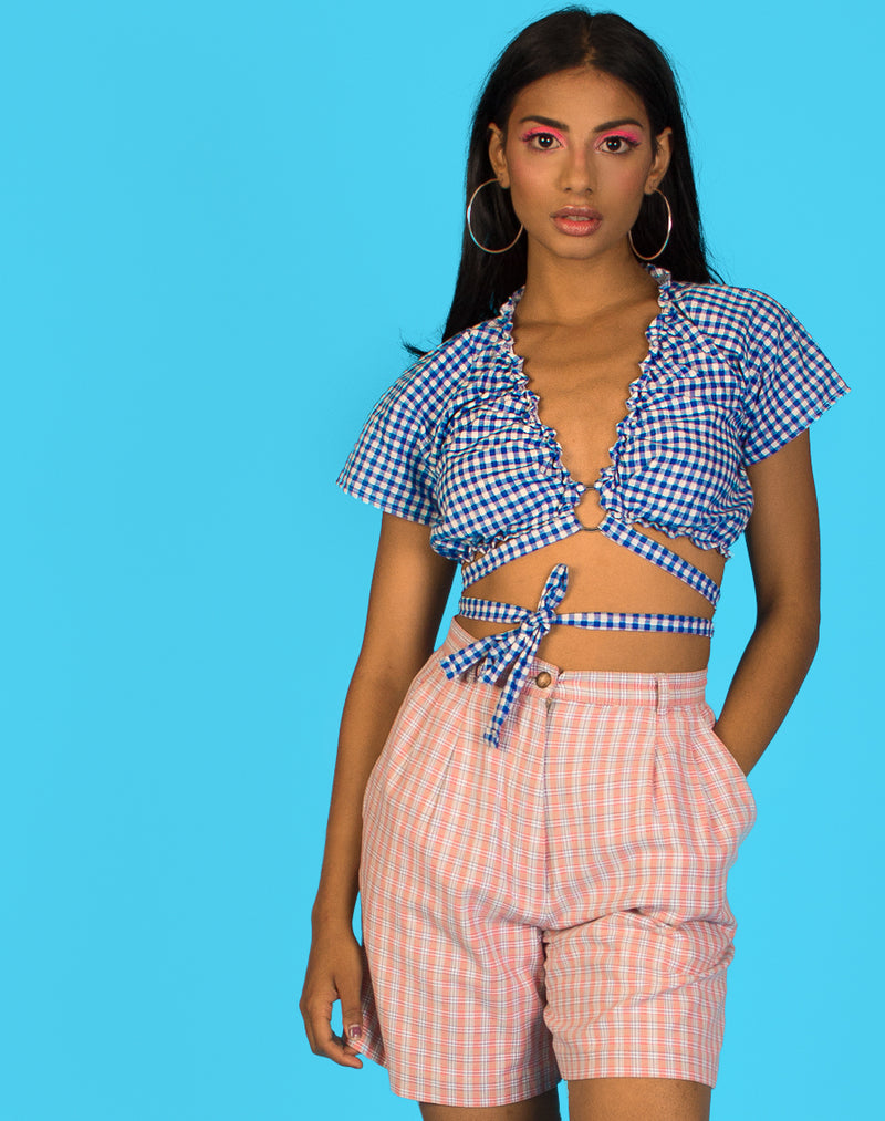 BLUE GINGHAM CLARA TOP