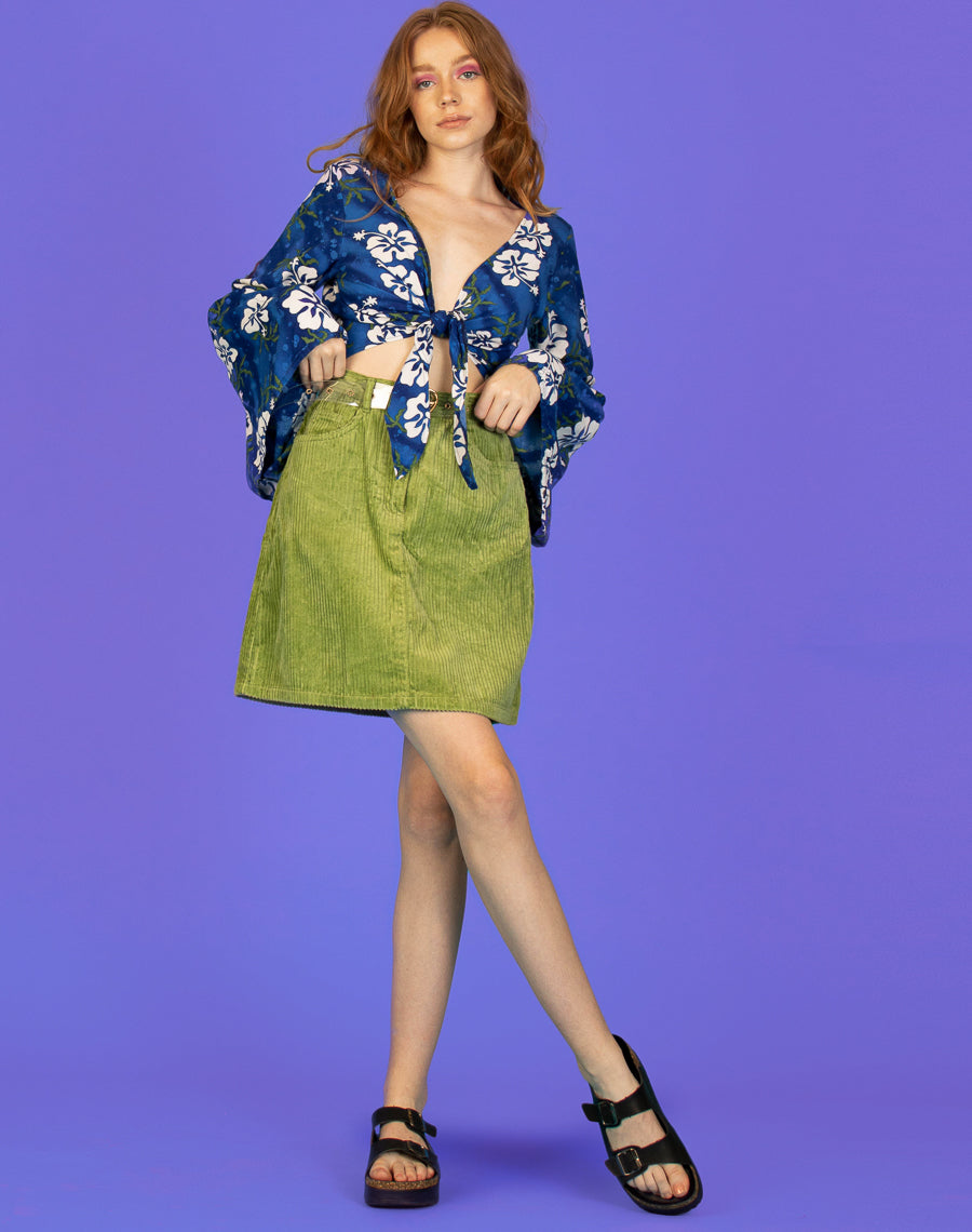 BLUE HAWAIIAN MELISSA BELL SLEEVE TOP