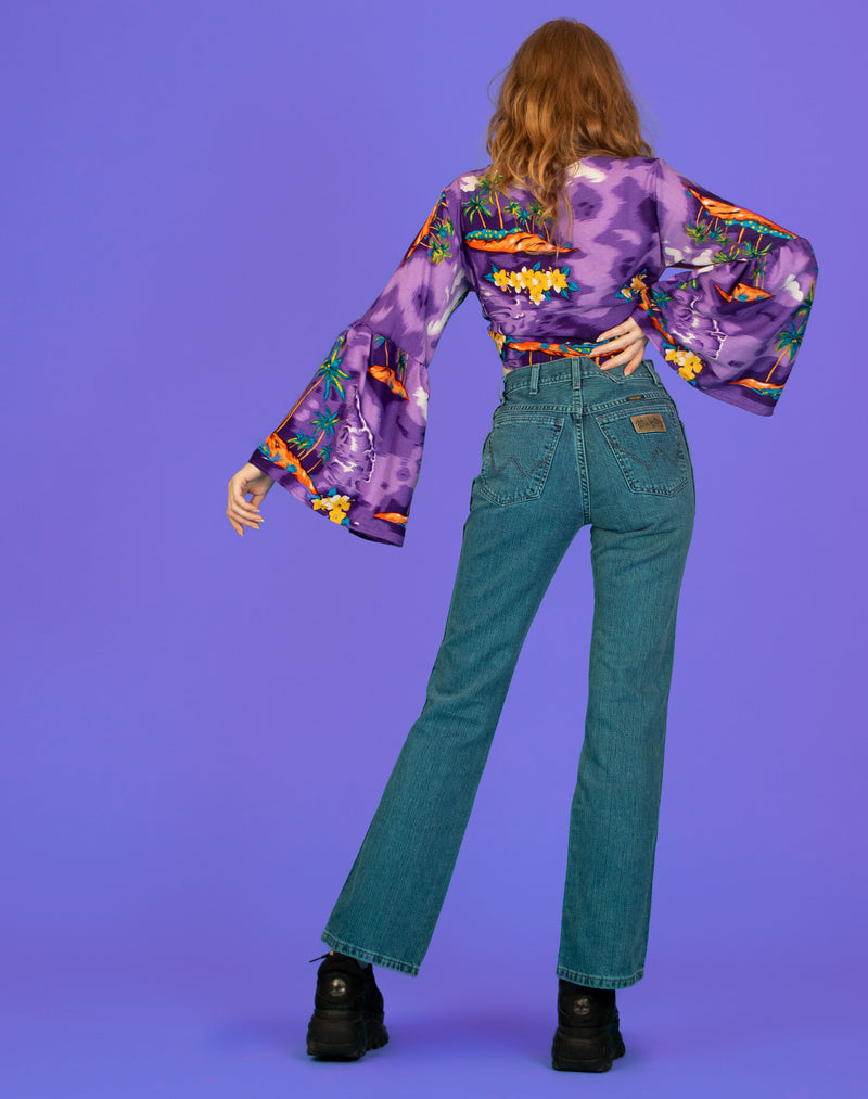 PURPLE HAWAIIAN MELISSA BELL SLEEVE TOP
