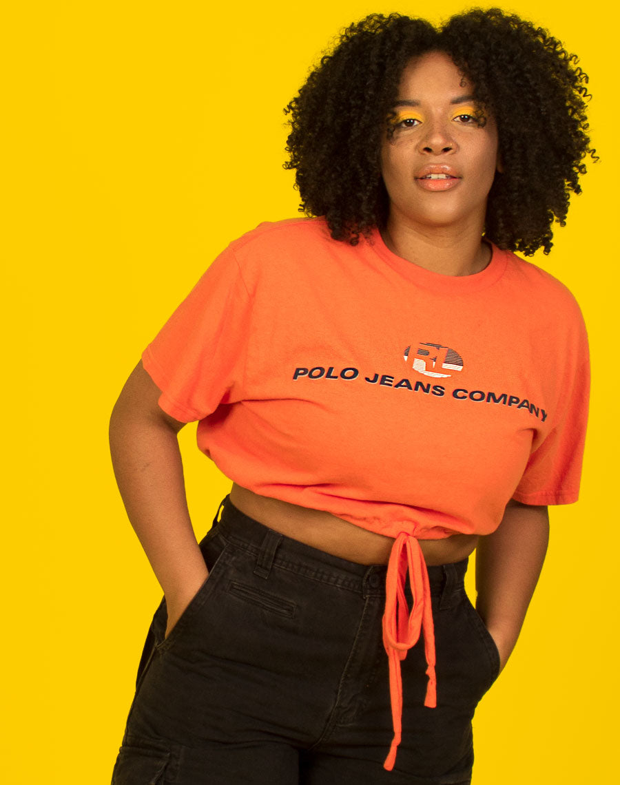 RALPH ORANGE TIE WAIST CROP TOP