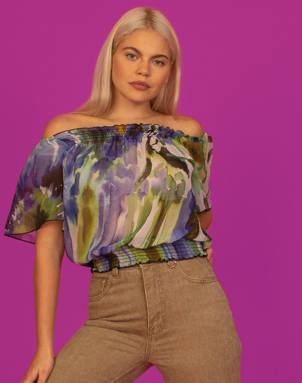 SHEER WATERCOLOUR FLORAL BARDOT TOP