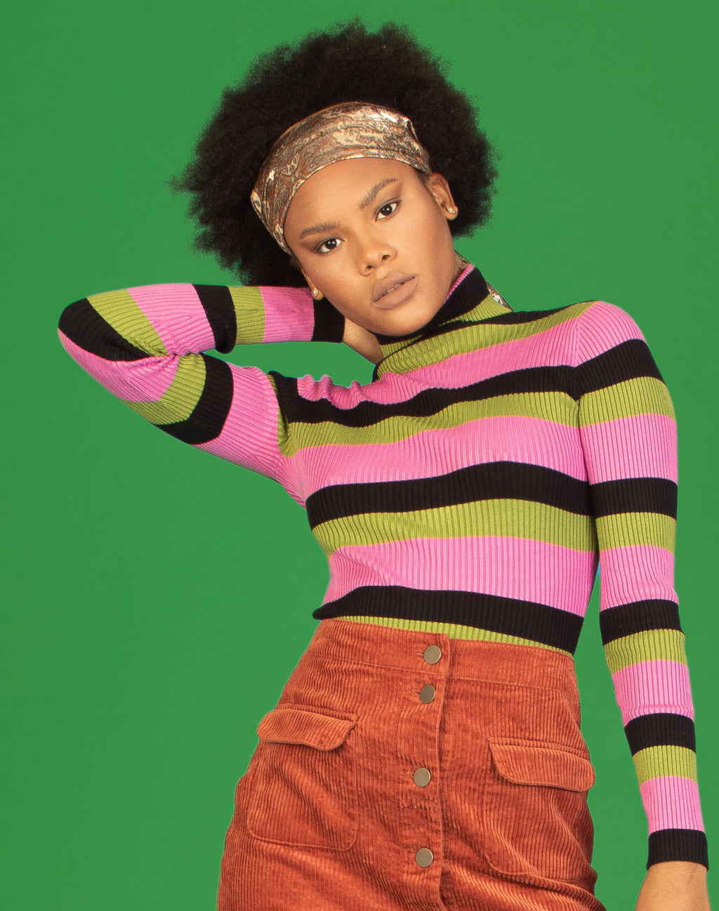 PINK GREEN STRIPED TURTLENECK