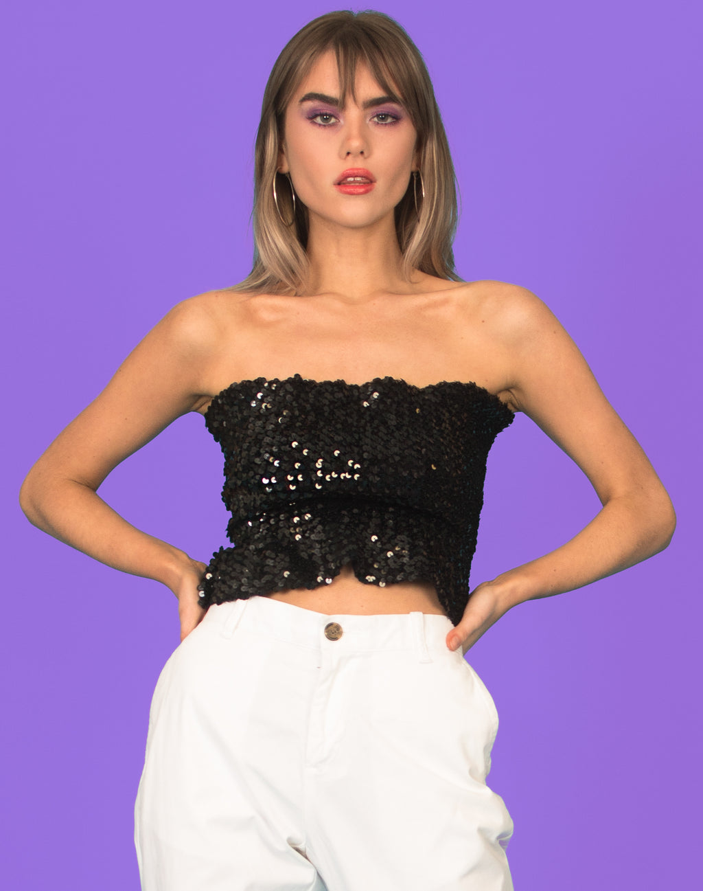 BLACK SEQUIN PEPLUM TUBE TOP