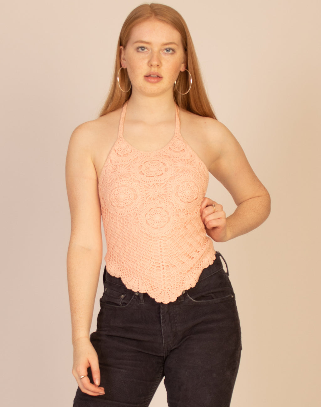 PINK CROCHET HALTER TOP