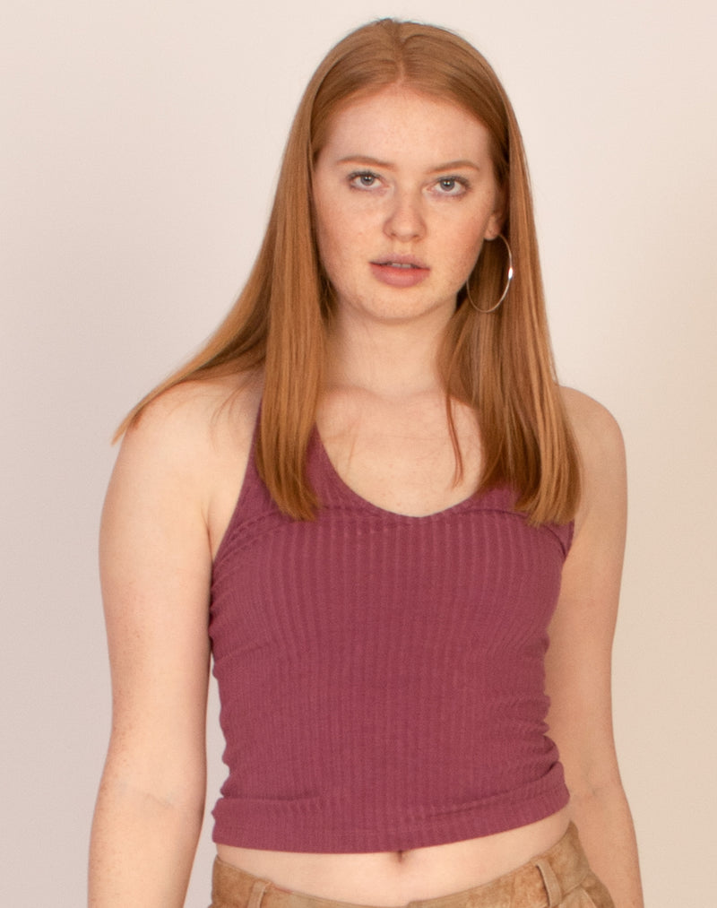 MAUVE RIBBED HALTER TOP