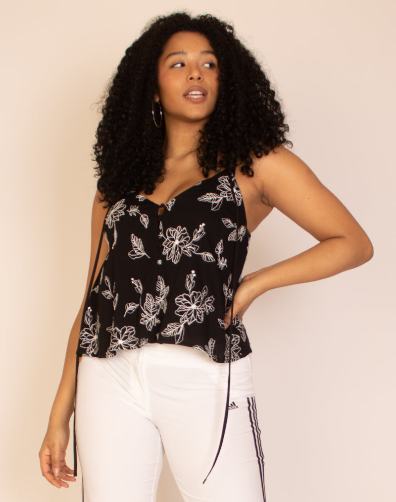 BLACK EMBROIDERY CAMI VEST