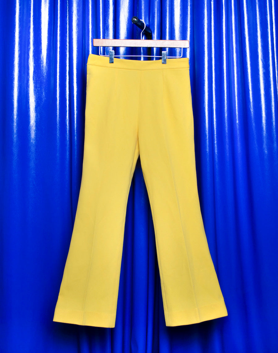 PASTEL YELLOW WIDE LEG TROUSERS