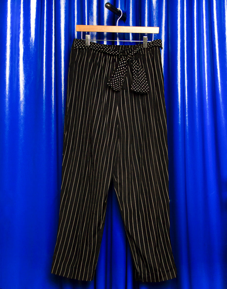PINSTRIPE BLACK TROUSERS