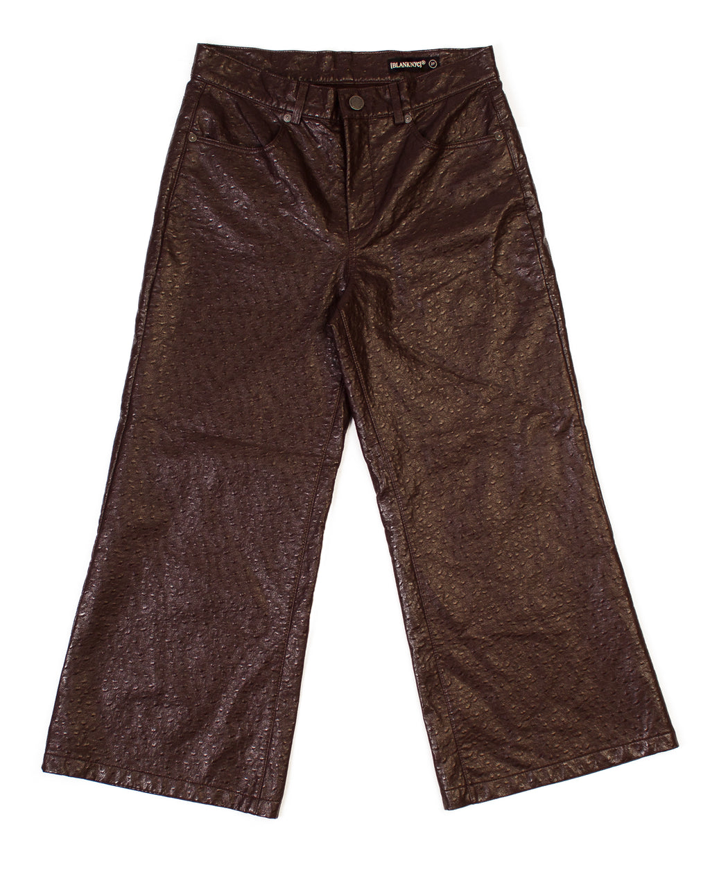 MAROON FAUX OSTRICH LEATHER CULOTTES