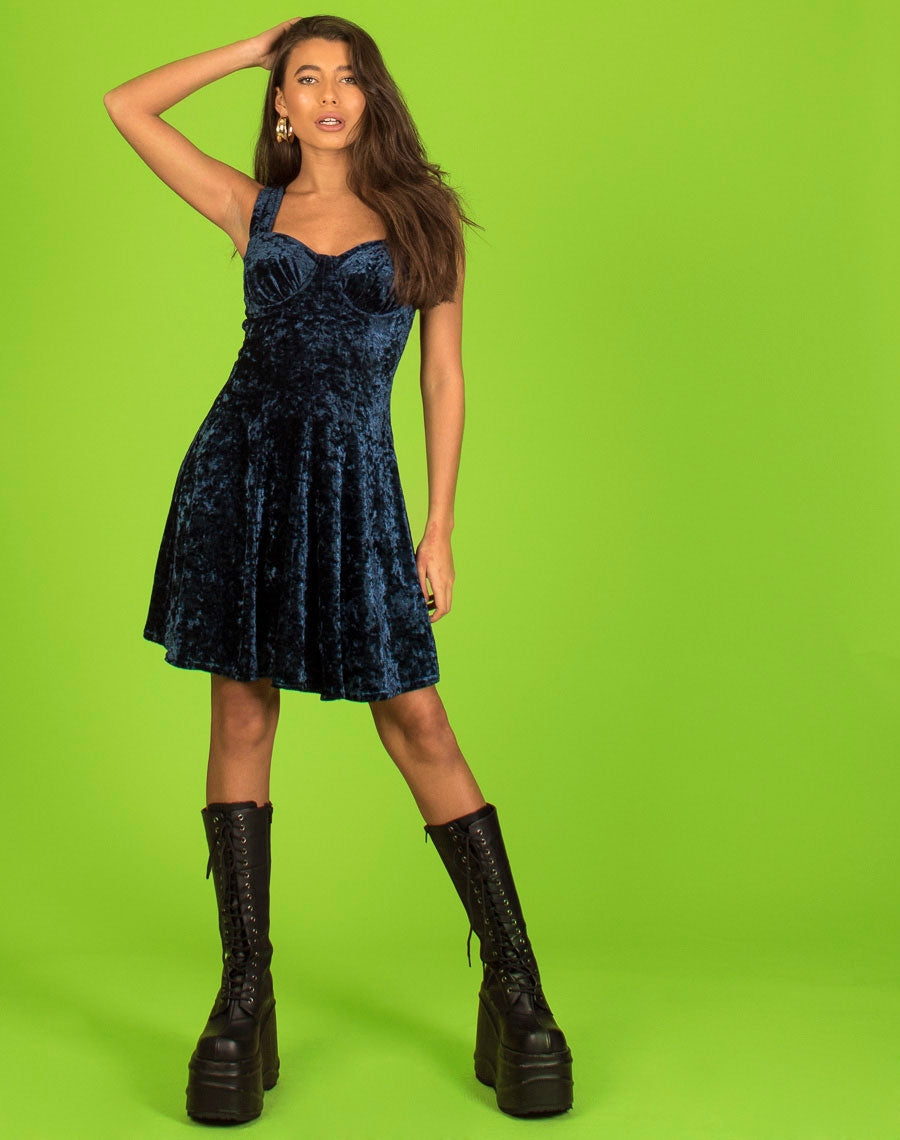 BLUE CRUSHED VELVET PARTY DRESS