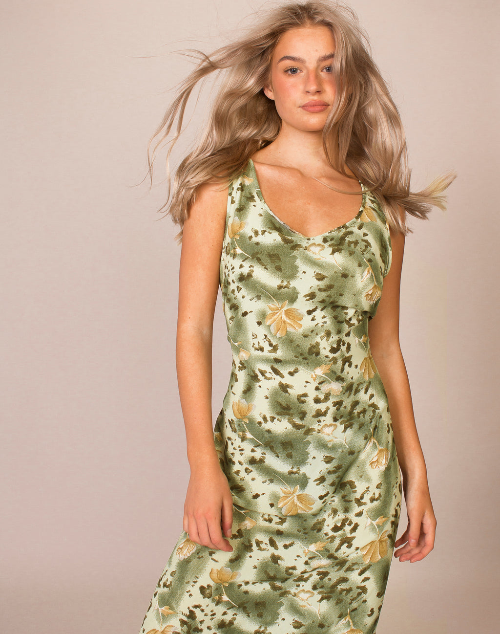 FLORAL GREEN MIDI SLIP DRESS