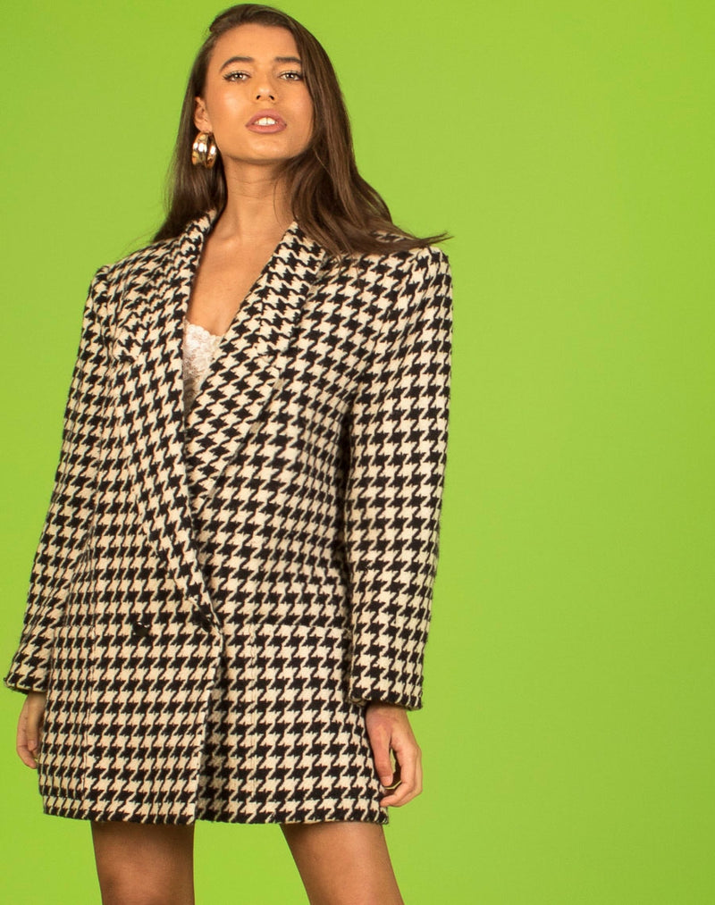 HOUNDSTOOTH BARDOT TWIN SET XS