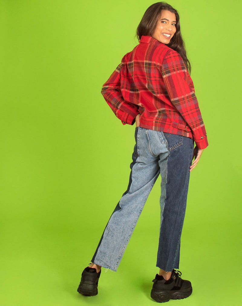 RED CHECK CORDUROY JACKET