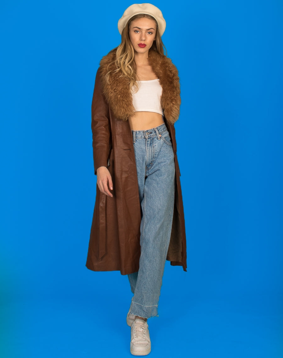 LEATHER AFGHAN MAXI COAT