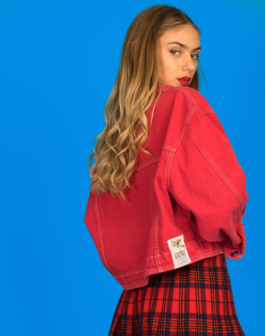 CROPPED RED DENIM JACKEThttps://we-are-cow.myshopify.com/admin/products?published_status=online_store%3Avisible&query=RED+DENIM+JACKET