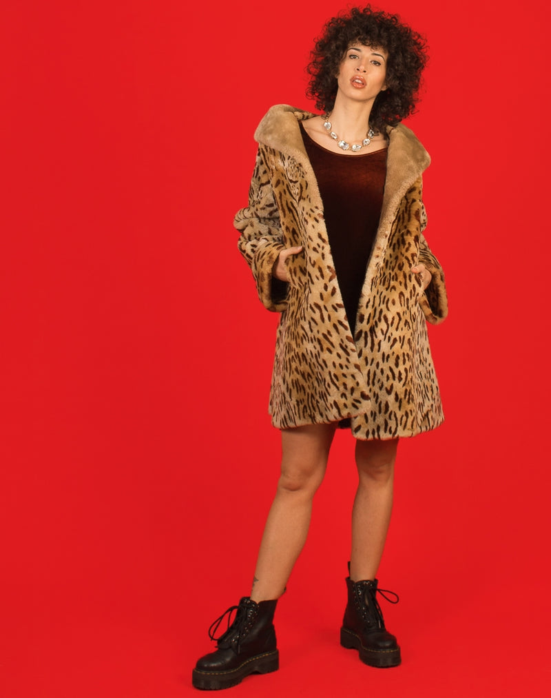 CHEETAH PRINT FAUX FUR COAT