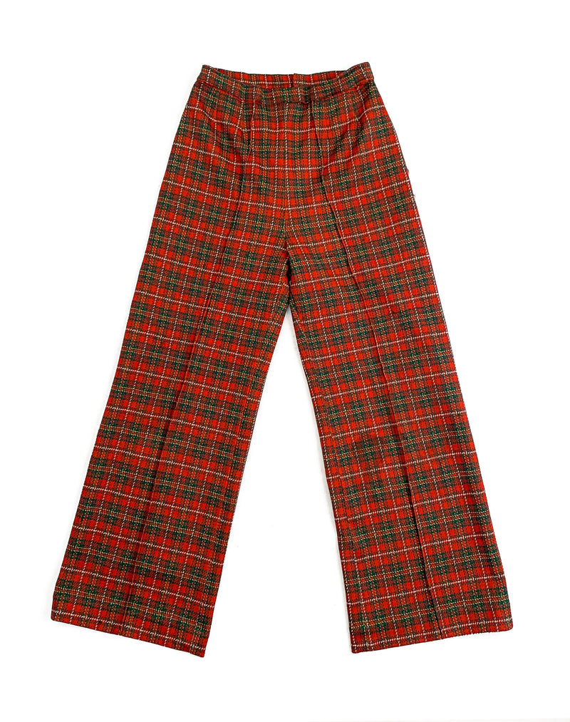RED AND GREEN TARTAN FLARES