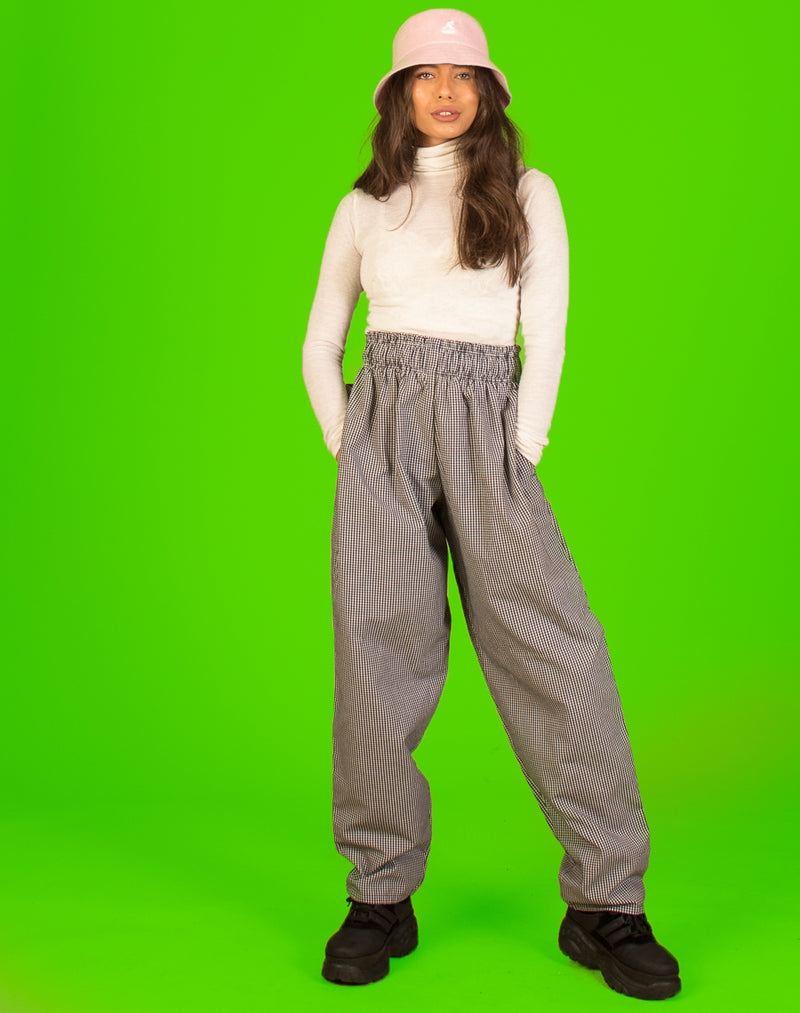 GREEN PLAID WIDE LEG TROUSERS