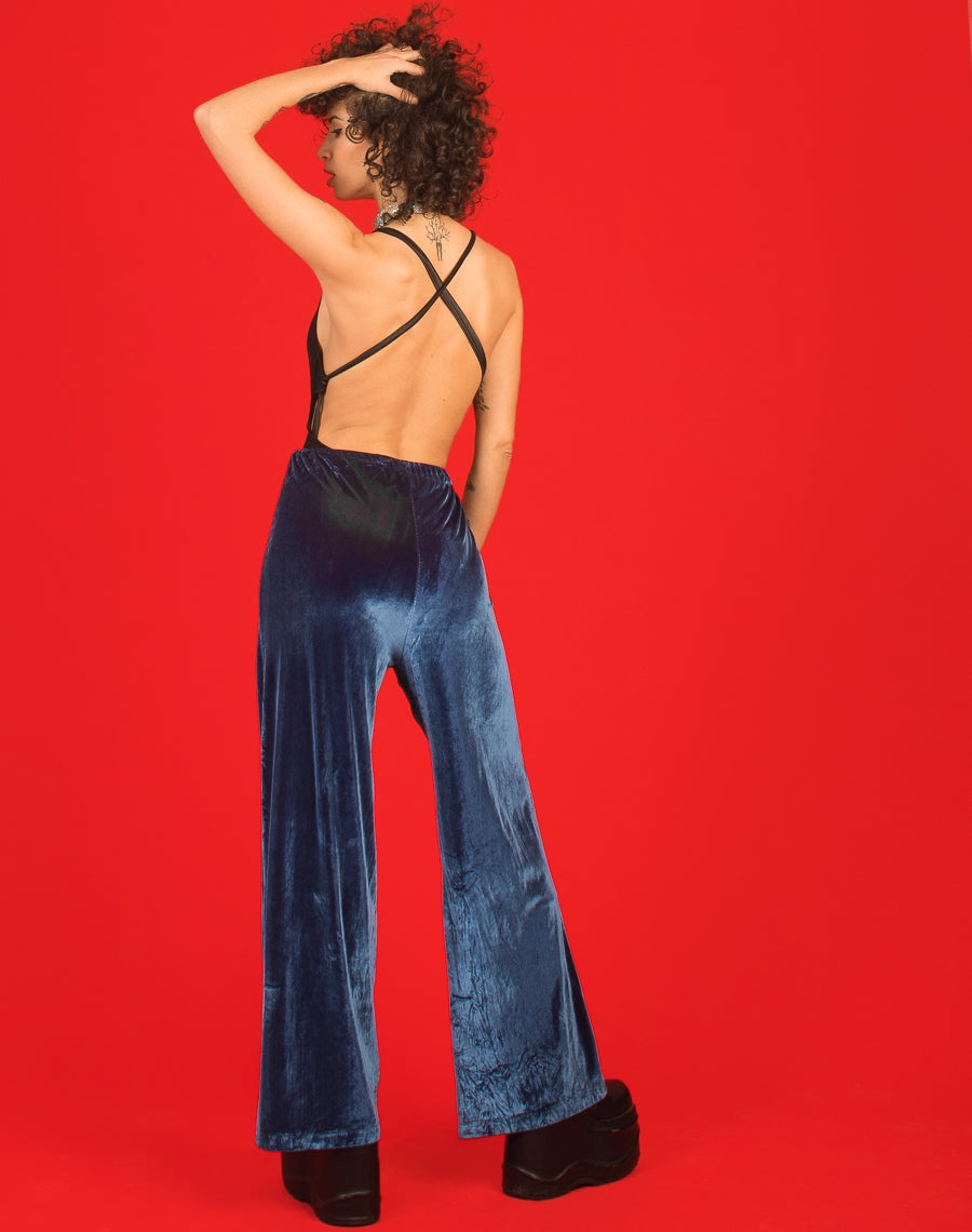 BLUE IRIDESCENT VELVET PANTS