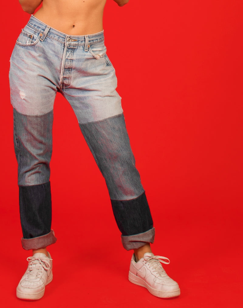 LEVIS TRI TONE TIERED MOM JEANS