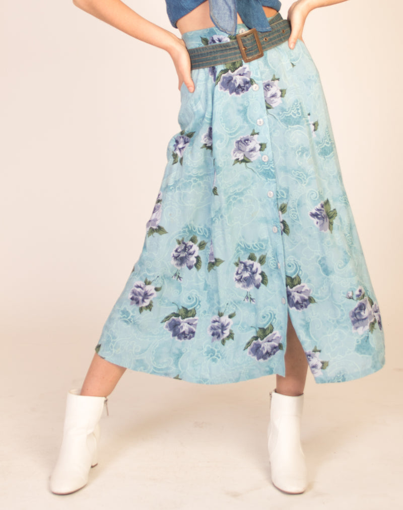 FLORAL BABY BLUE AND LILAC MAXI SKIRT