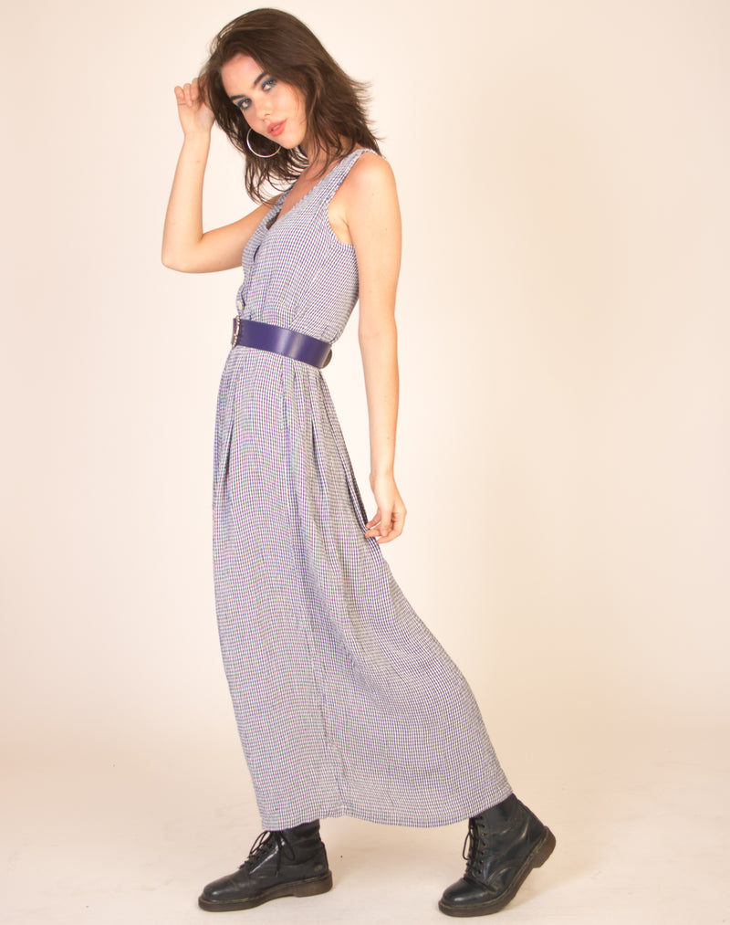 NAVY GINGHAM CHECK MAXI DRESS